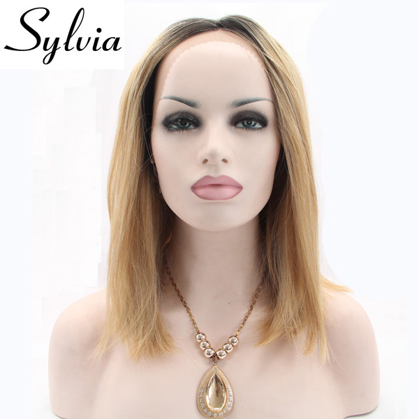 Sylvia mixed blonde color short straight synthetic lace front wigs natural blonde ombre bob wig with dark roots heat resistant