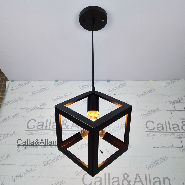 black iron square cage Vintage light fixture Loft Pendant Lamp Retro Hanging Lamp For Restaurant/Coffee Shop Home G80 edison 40W loft edison vintage retro cystal glass black iron light ceiling lamp cafe dining bar hotel club coffe shop store restaurant