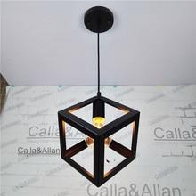 black iron square cage vintage light fixture loft pendant lamp retro hanging lamp for shop home g80 edison 40w