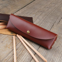 190x55mmlarge capacity fashion genuine leather pen bag pencil bag stationery organizer with cover school supplies 1140