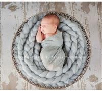 Nova Chegada de Lã fotografia bebê Recém-nascido adereços Fotografia Wraps Handmade Headband Da Flor Do Bebê Da Foto adereços Acessórios