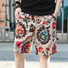 Plus Size Floral Printed Men Beach Shorts Loose Casual Wear Elastic Waist Surfing Holiday Suit Sport Board