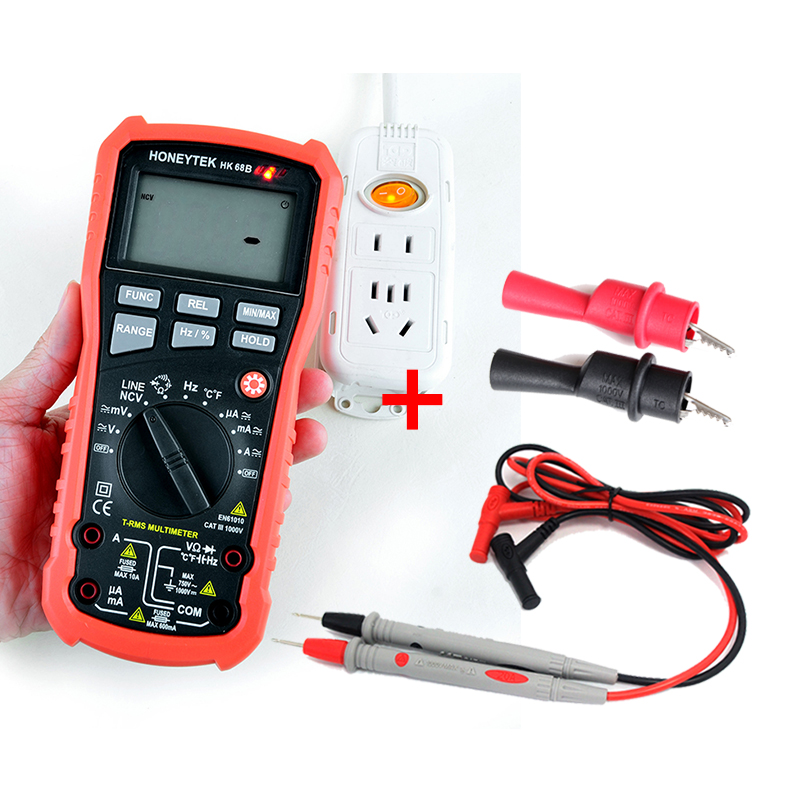 Multifunction Handheld Current Voltage Resistance Capacitance Frequency Temperature Tester Multimeter +Test Leads+Alligator clip my64 digital multimeter dmm frequency capacitance temperature professional meter tester w hfe test