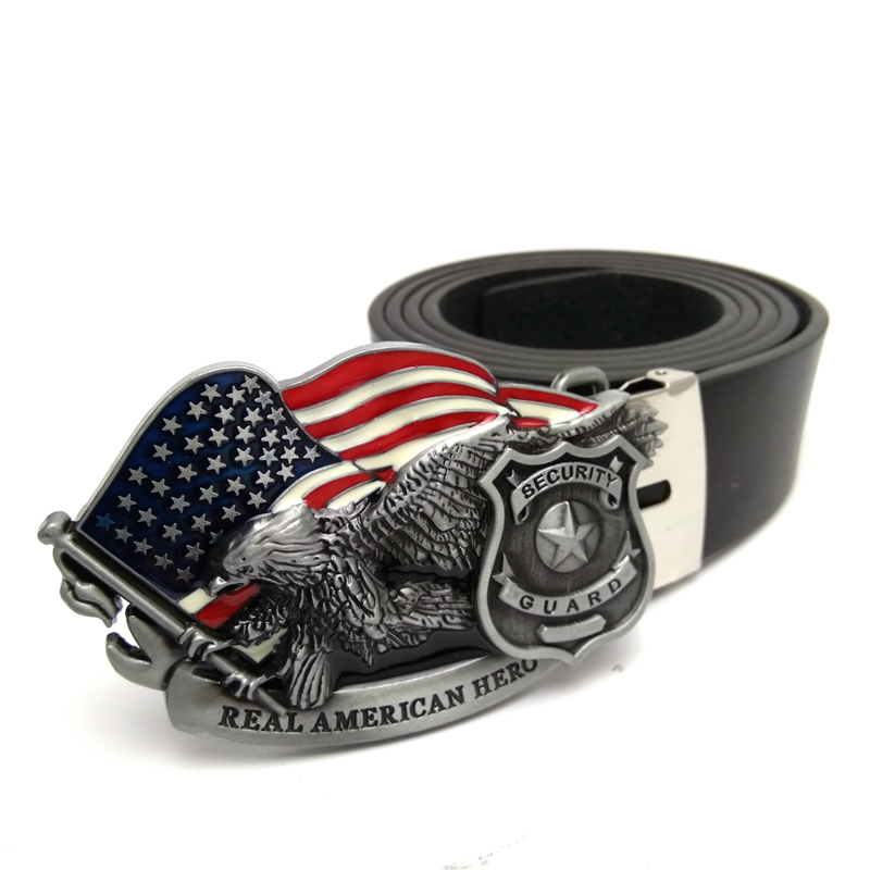 Black belts for mens jeans with American flag eagle security guard shield metal belt buckle PU leather Cowboy belt