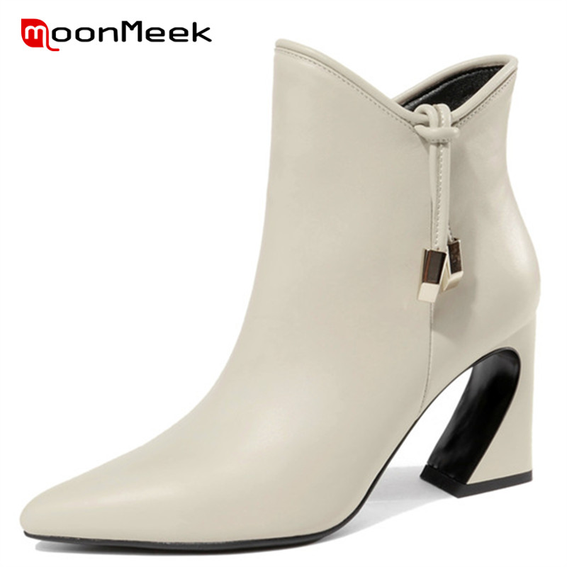 MoonMeek 2018 NEW ankle boots elegant genuine leather boots sexy pointed toe autumn winter ladies boots super high heels shoes цена 2017