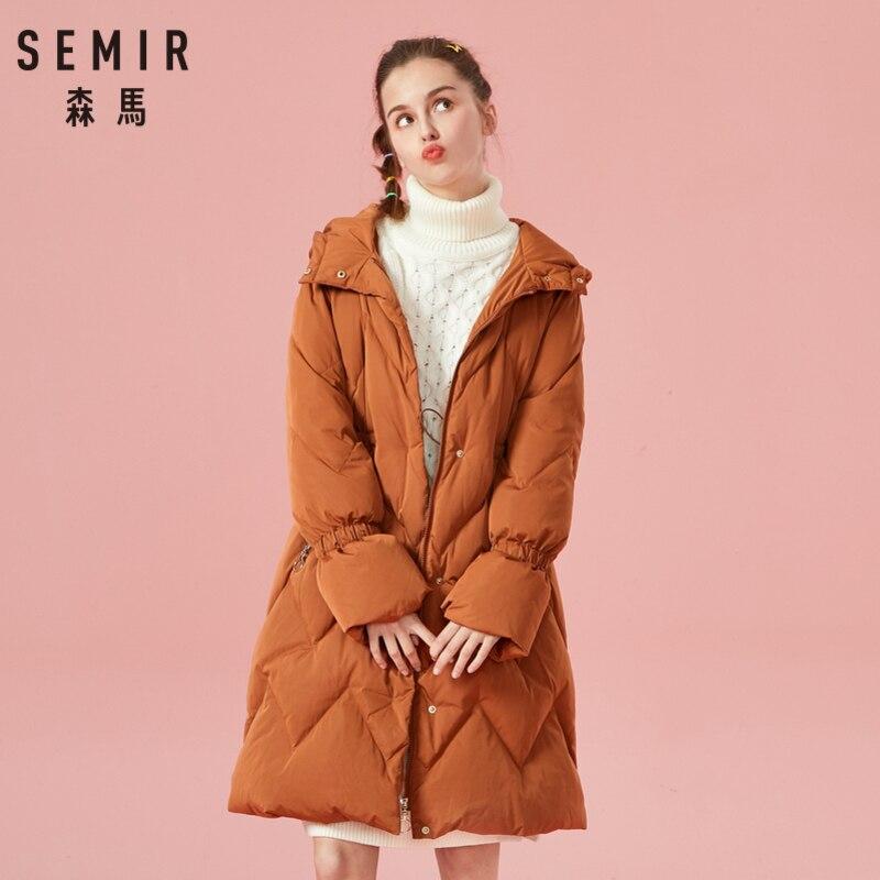 SEMIR Women Quilted Long   Down   Hooded   Coat   with Zip Pocket Zip&Snap Closure   Down   Filling Puffer   Coat   Hidden Drawstring at Waist