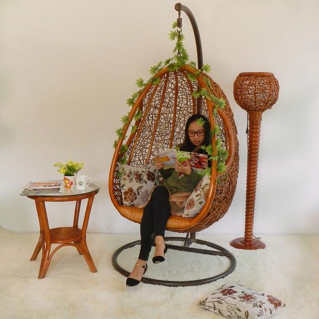 Rattan Swing Hanging Chair Indoor Rattan Bird Nest Hanging Basket Casual  Chair Balcony Rattan Chair Plant