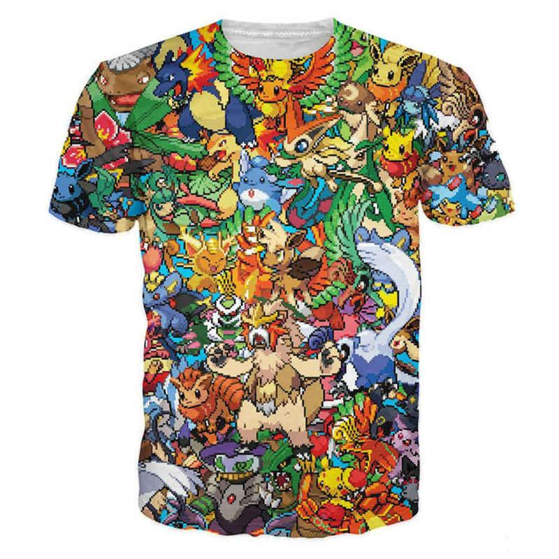 Мультфильм 3D футболки с принтом персонажи животных футболки Pokemon Монстр  Pokedex Пикачу футболка мода унисекс летние a031a6ef280b9