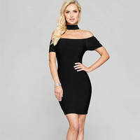 2018 Summer Black Women Dress Choker Bodycon Mini Night Out Boat Neck Off the Shoulder Short Sleeve Sexy Party Bandage Dresses