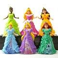 6 unids/lote 12 cm Princesa conjunto de Juego Ariel Belle Aurora Vestido Ropa Cambiable Acción PVC Figure Toys Doll Anime Brinquedos chico Juguete