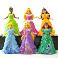 6pcs/lot 12cm Princess Play Set Ariel Belle Aurora PVC Action Figure Toys Doll Dress Clothes Changeable Anime Brinquedos Kid Toy