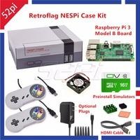 52Pi Retroflag NESPI Case With Raspberry Pi 3 16G Card Fan 2pcs SNES Gamepad Power Adapter
