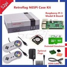 52Pi Retroflag NESPI Case z Raspberry Pi 3 + 16G Karty + Wentylator + 2 sztuk SNES Gamepad + Zasilacz + Radiator + Kabel HDMI dla RetroPie