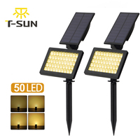 2 PACK Solar Spotlights 50 LED Outdoor Landscape Wall Light Waterproof IP44 Warm White 3500K Adjustable Solar Lights for Garden