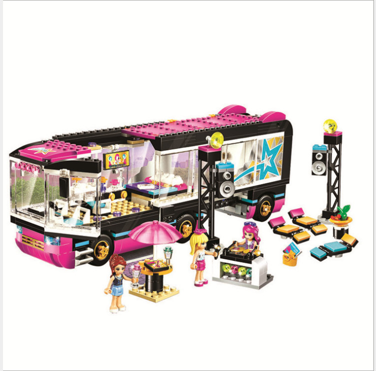 Building Blocks 10407 684Pcs Friends Pop Star Tour Bus 41106 Model Compatible Legoed Figure Educational Toys For Children Gifts gonlei 10407 friends pop star tour bus building blocks sets bricks toys girl game house gift compatible with