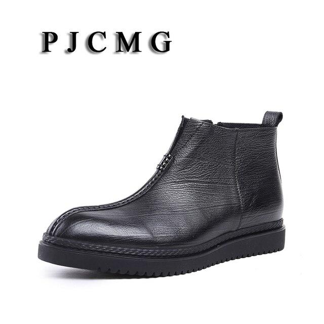 PJCMG Yüksek Kalite Erkekler Çizmeler Siyah Slip-On Ayak Bileği Kauçuk Rahat Hakiki Deri Klasik Iş Ofis Resmi Çizmeler Erkekler ayakkabı