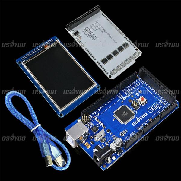 """Prix pour 3.2 """"TFT LCD Tactile + 3.2 Pouce Bouclier Mega Bouclier + Mega2560 R3 avec Usb Câble Pour Arduino"""