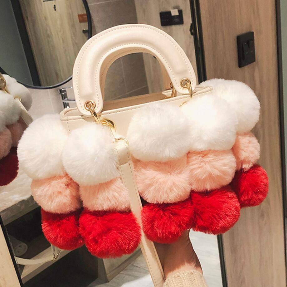 2018 Winter Fashion New Ladies Cute Tote Bag Quality PU Leather Women's Designer Handbag Hair Ball Shoulder Messenger Bags