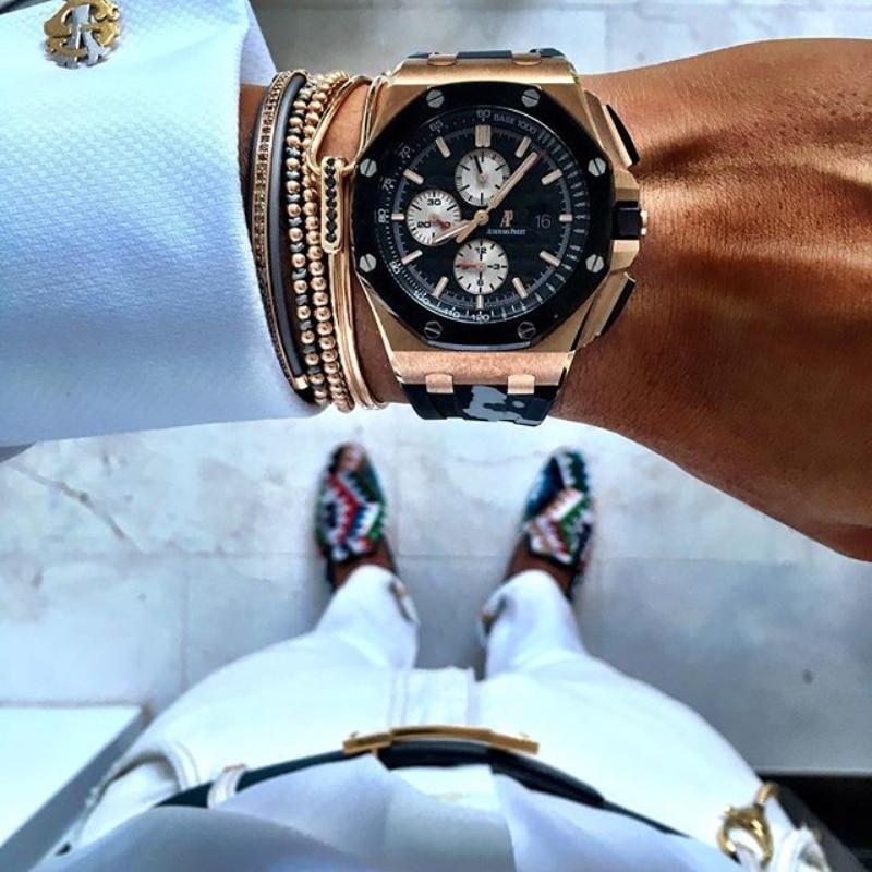 Gold & Silver Titanium Steel Beaded Macrame Mens Bracelet