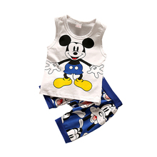 Children Boys Girls Clothing Sets Kids Cartoon Vest Shorts 2Pcs/Sets Summer Baby Cotton Clothes Fashion Toddler Tracksuits toddler baby boys tracksuits 2017 summer children cartoon sports suits kids sleeveless vest shorts clothes outfit age 1 4t
