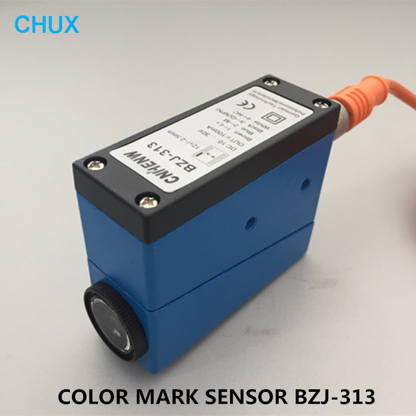 Color Mark Sensor BZJ-313 With Connector Packing Machine Inductor 10-30v DC Voltage Checking Photoelectric Eyes Marks