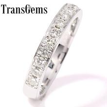 Espumante 0.455 CTW TransGems F Cor Lab Grown Moissanite Diamante Meia 14 K Ouro Branco Aliança De Casamento eternidade no Estado Sólido para As Mulheres