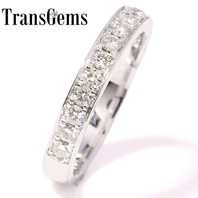 TransGems Sparkling 0.455 CTW F Color Lab Grown Moissanite Diamond Half Eternity Wedding Band in Solid 14K White Gold for Women genuine14k 585 white gold push back 1carat ctw test positive lab grown moissanite diamond earrings for women