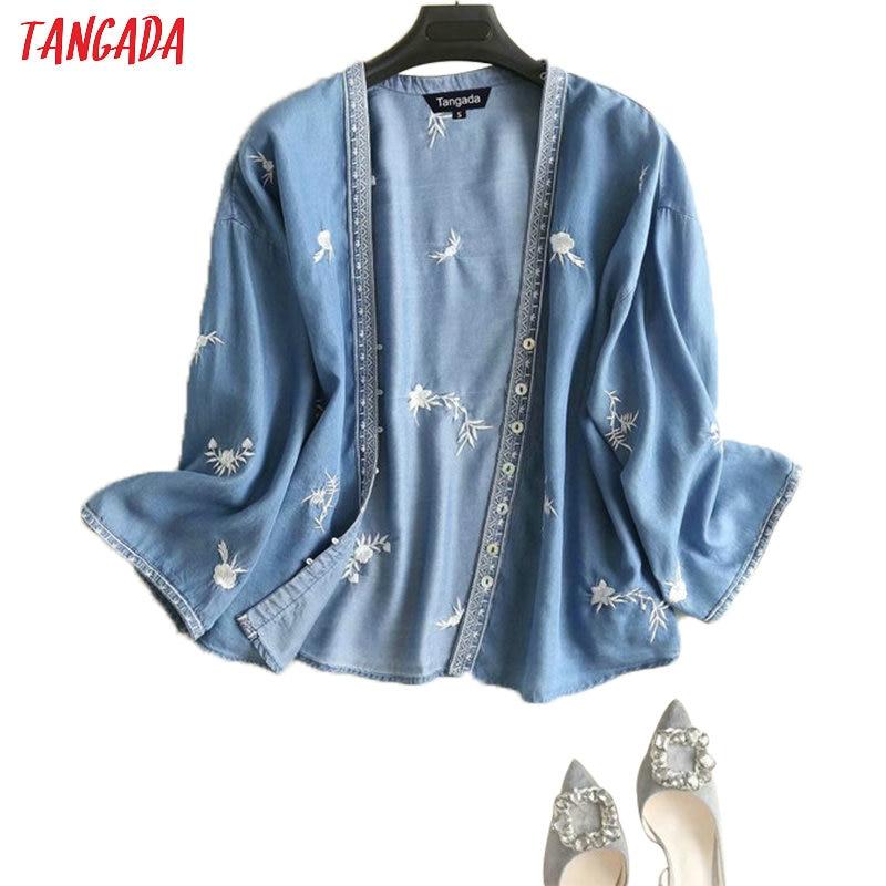 Tangada Women Floral Embroidery Denim Kimono Blouse 2019 Autumn Vintage Long Sleeve Shirts Female Chic Tops 2P07