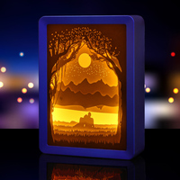 Automatically Color Changing Paper Cut Light Box Paper Craft Shadow Picture Box Frame 3D Wall Art