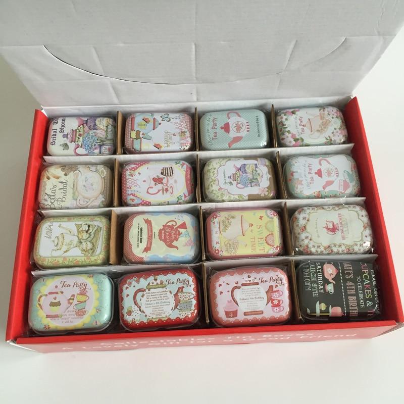 32 pcs/lot de Collection Tin Boîtes Petite Boîte En fer Gros boîtes De Rangement En Métal thé pot Boîte De Bonbons Thé Partie dans Boîtes De Rangement de Maison & Jardin