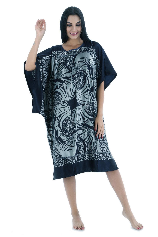 Navy Blue Summer Women's Robe Nightdress Lady Faux Silk Bath Gown Nightgown Bathrobe Sleepwear Mujer Pijama Flower Zh12C