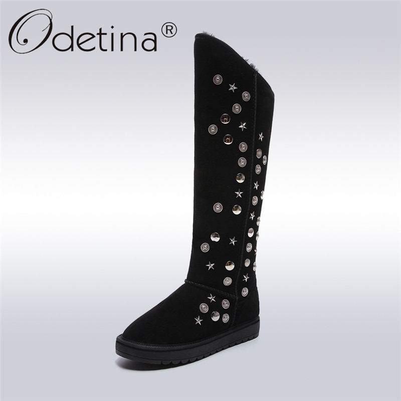 Фото Odetina 2017 New Women Genuine Leather Winter Snow Boots Warm Platform Shoes Australia Female Knee High Boots Metal Decoration