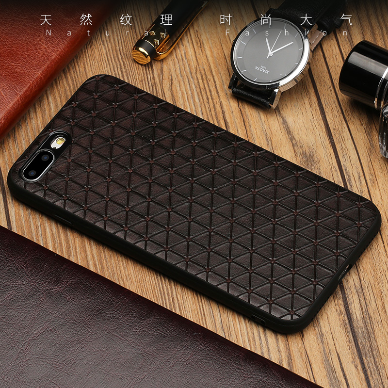 Original Genuine Leather Phone case For iPhone X 7 8 6 Plus 5 5S SE Business Style Triangle Texture 360 silicon soft Back cover