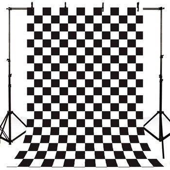 цена на Newborn Photography Backdrops Vintage Checkerboard Photo Background for Photo Studio Black and White Square Lattice Backdrop