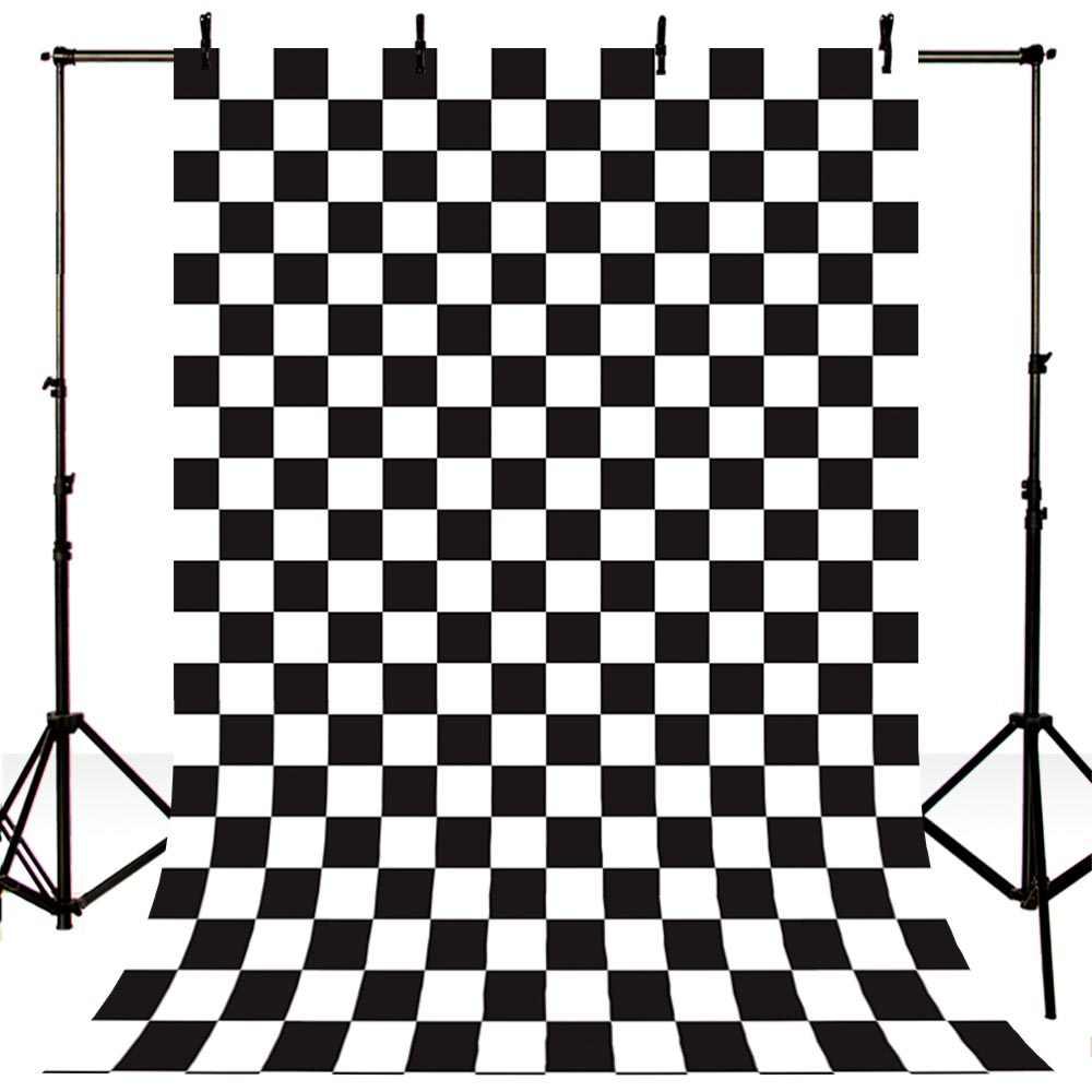 การถ่ายภาพทารกแรกเกิด VINTAGE Checkerboard ภาพพื้นหลังสำหรับ Photo Studio สีดำและสีขาวสแควร์ Lattice ฉากหลัง