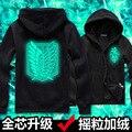 anime Attack on Titan of The survey corps man's sweatshirt sportwear night light Coat fleece cotton zipper hoodies
