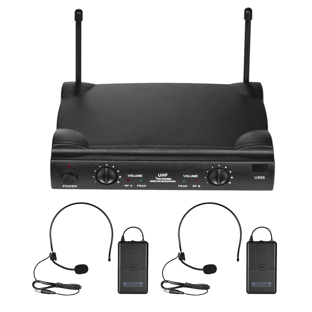 UHF Dual Channels Wireless Microphone Mic System with 2 Bodypack Transmitter 2 Headset 1 Receiver Audio