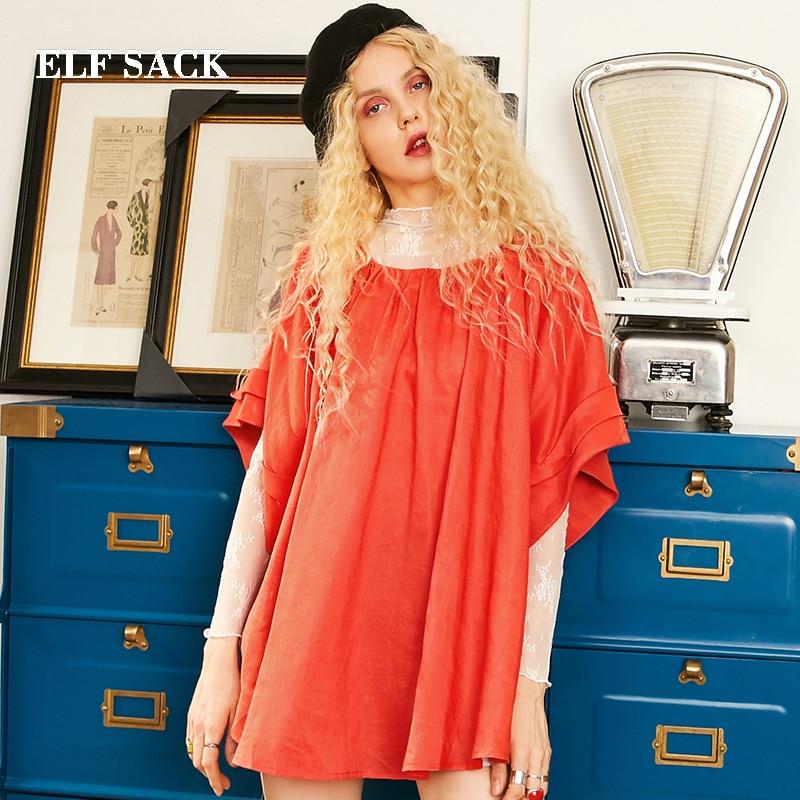 Coton Ins Lâche Solide rouge Chemises Elf Style Black Corée Chemise Sangle Femme Automne Chic Femmes Sack Nouvelle Mode Casual Arrière wqpC0