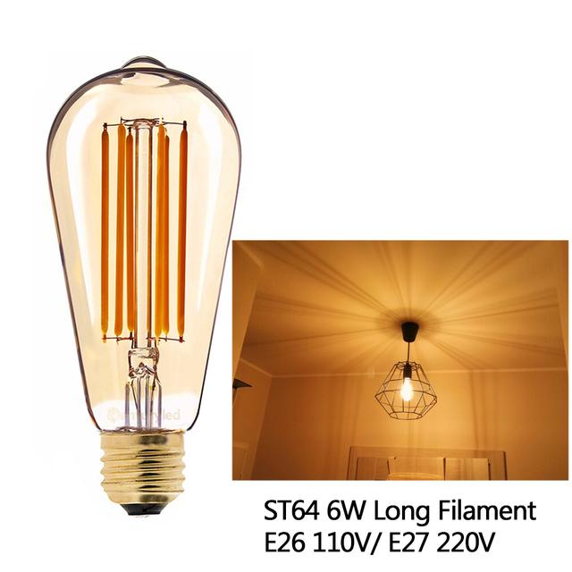 Grensk Retro LED Lamp Dimmable Light Bulb E14 E27 220V Gold 1W 3W 4W 6W 8W E12 E26 110V Edison LED Filament Bulbs 2200K G40 ST64