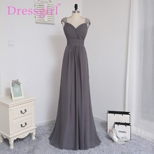 Dressgirl 2017 Cheap Bridesmaid Dresses Under 50 A-line Cap Sleeves Gray Chiffon Lace Open Back Wedding Party Dresses