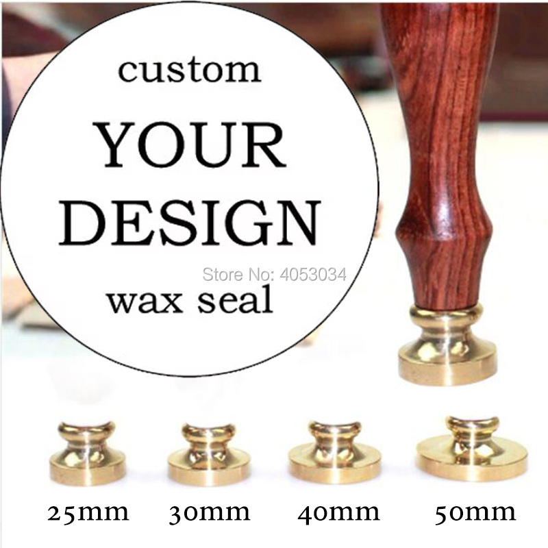 custom wax seal stamp with Your own Logo design  diferent stamp head size  20mm,25m, 30mm, 40mm,50m for your choice