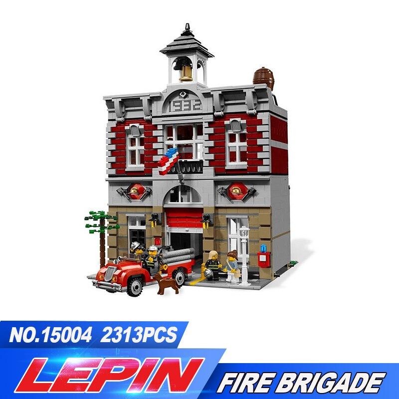 Lepin DHL 15004 Pompiers Station 2313 pcs Créateur Ville Rue Blocs De Construction Briques Jouet Cadeau Compatible legoed 10197