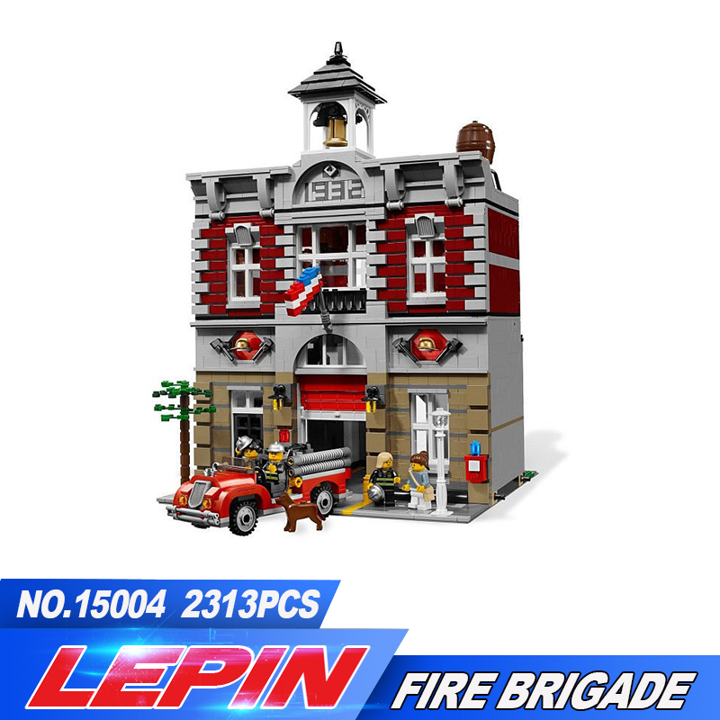 New Lepin 2016 DHL 15004 Fire Brigade Station 2313 PCS Creator City Street Building Blocks Bricks Toy Gift Compatible 10197 lepin 15004 2313pcs city creator series fire brigade model building blocks bricks toys for children gift compatible 10197