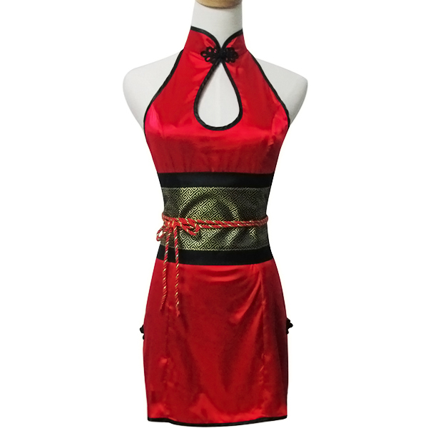 Renee wang  High Quality Vintage Red Short the Chinese Dress Cheongsam Cosplay Costume Stage Costumes