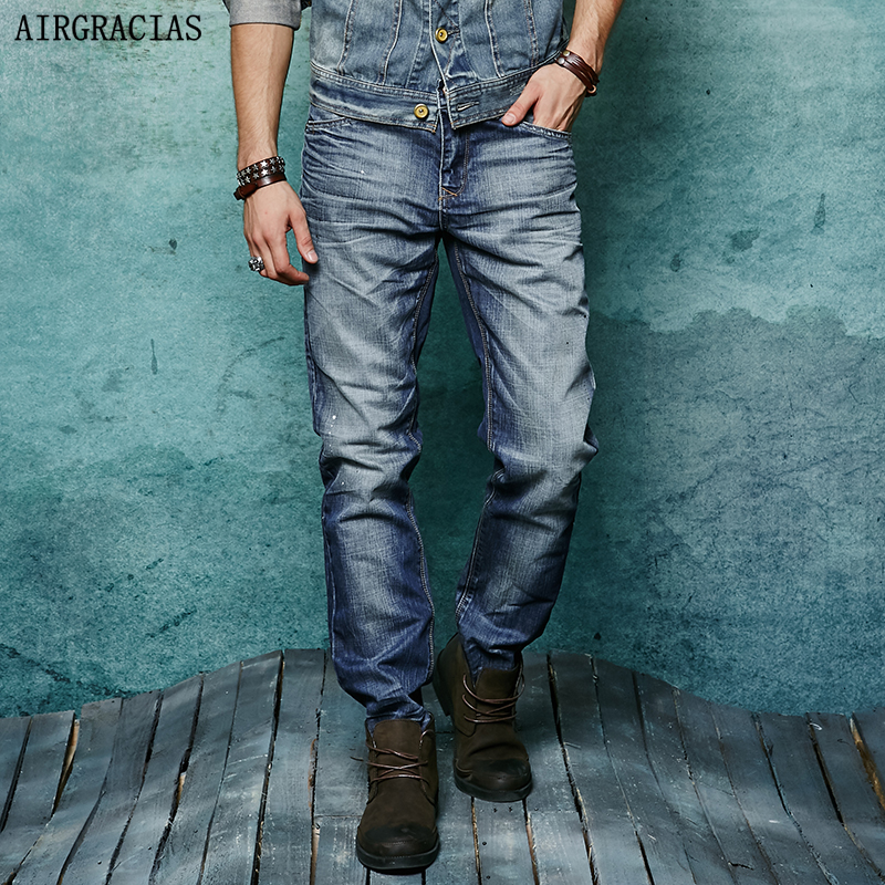 AIRGRACIAS Full Length Jeans Men Classic Retro Nostalgia Straight 100% Cotton Mens Jean Pants Trousers Biker Jean 28-38 airgracias elasticity jeans men high quality brand denim cotton biker jean regular fit pants trousers size 28 42 black blue