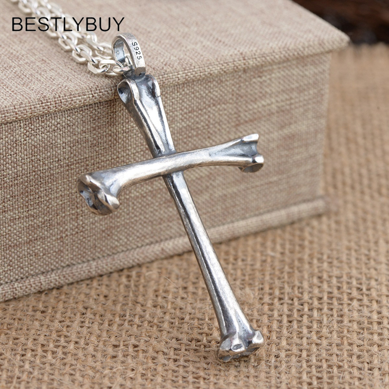 Real 925 Sterling Silver Necklace Skull Bone Cross personalized pendants men and women Thai Silver Vintage Fine Jewelry NO CHAIN