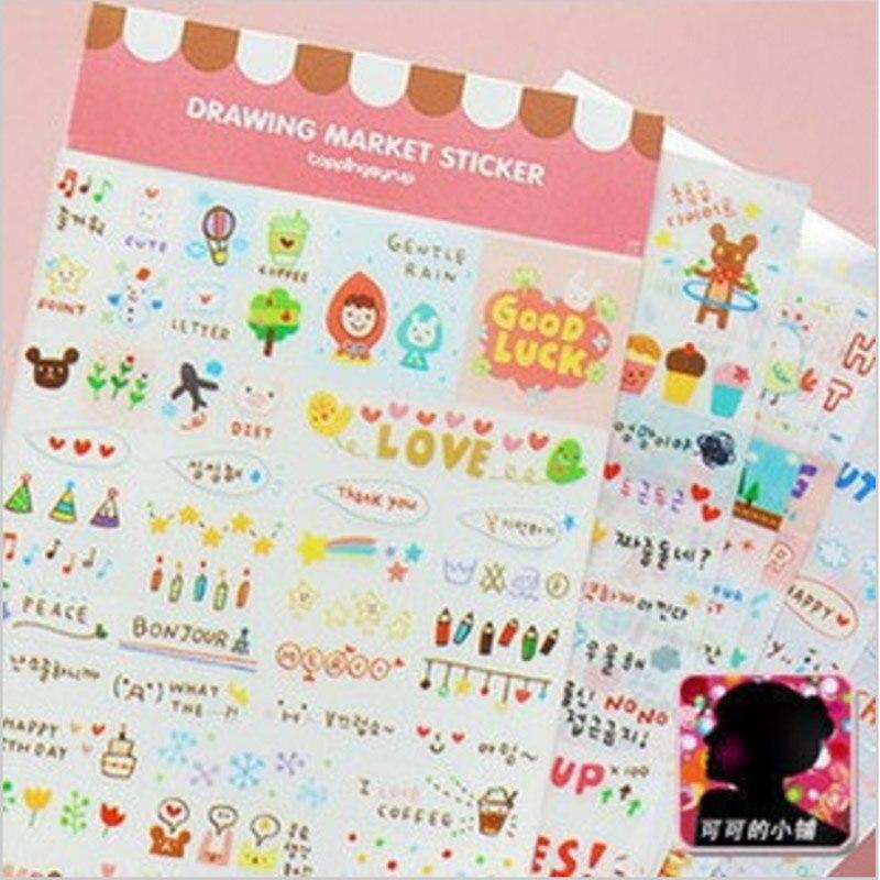 6 pcs /lot (1 bag ) DIY Cute Kawaii Cartoon Korean Girl Sticker for Scrapbook Decoration Diary Wholesale Student 517
