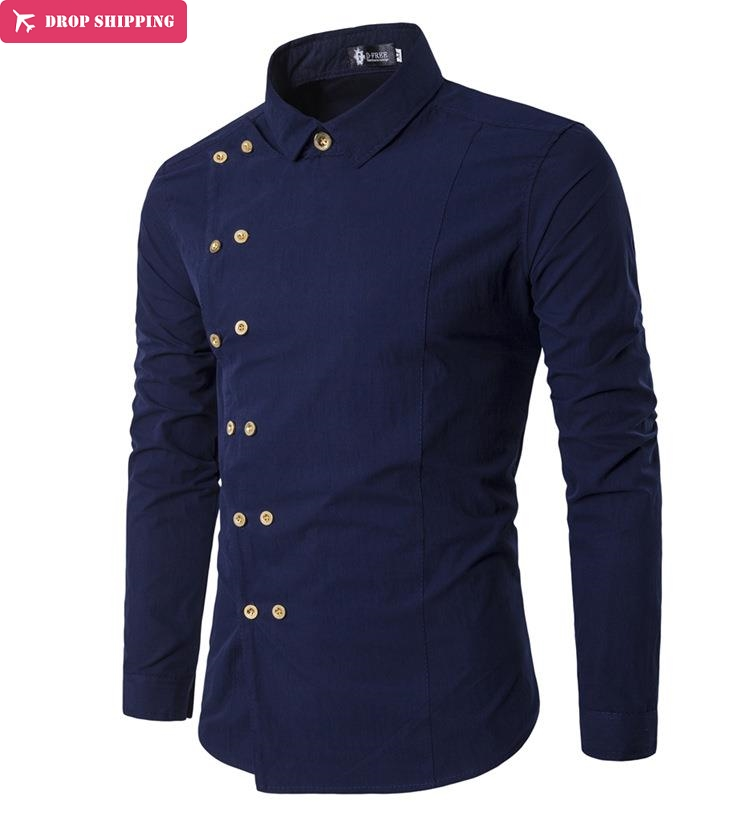 Drop ShippingMen slim-fit shirt met lange mouwen voor heren, casual, G7608