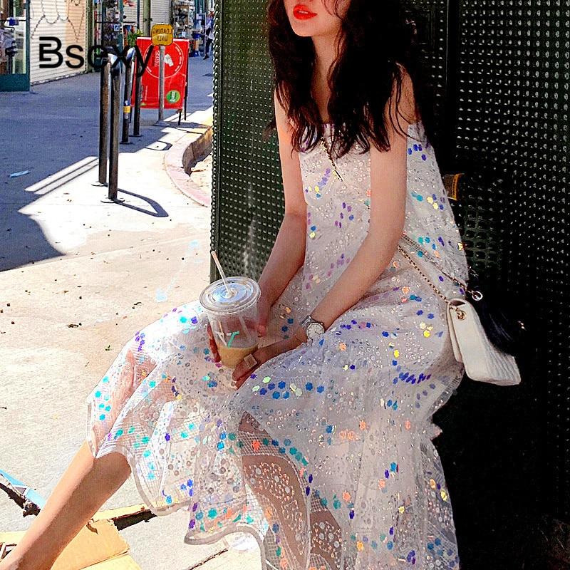 Fairy White Dress Women 2019 robe blanche Sexy Off the SHoulder Spaghetti Strap Sequined Midi Dress