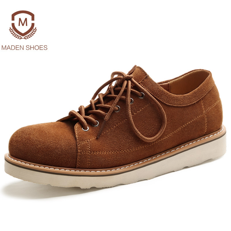 Maden 2018 Spring Cow Suede Men Casual Shoes High Quality Stitching Male Sneakers Retro Vintage Zapatillas Deportivas Hombre quality glossy gols men casual shoes high top flat shoes rivet hip hop shoes male trainers zapatillas deportivas hombre xk110303